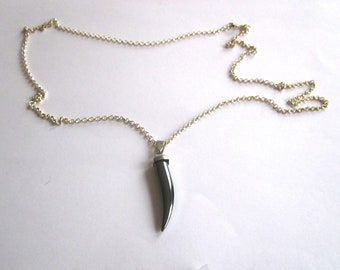 Hematite shark tooth necklace