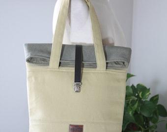 Roll tote bag, large tote bag, big bag, canvas tote bag, canvas bag,