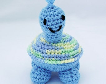 Baby Blue Petite Turtle Crocheted Amigurumi Stuffed Toy ready to ship
