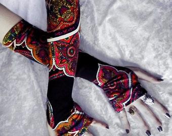 Arm Warmers in Black Magenta Yellow Orange Green White Blue Mehndi Paisley Floral | Gypsy Fire | Yoga Meditation Gothic Tribal Bellydance