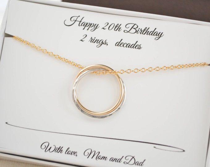 20th Birthday gift for her, 2nd Anniversary gift for women, Circle necklace, 2 intertwined circle, Best friend necklace, Sister necklace