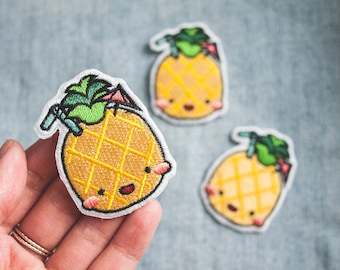 Cute Kawaii Happy Pineapple Iron-on Patch - Summer 2017 Collectible Embroidered Patch - Embroidered Iron-on