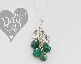 Personalized Mothers Birthstone Cascade Necklace - Custom Initial Jewelry - OOAK Gift- Personalized Nana Necklace - Mommy Necklace
