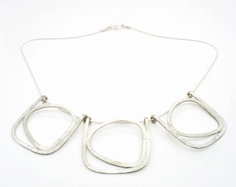 One,two,three perfect sterling silver necklace, hammered and brush, large and light, cab be wear daily or dressy,  statement silver necklace