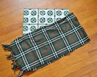 Vintage Green Plaid Lambswool Scarf