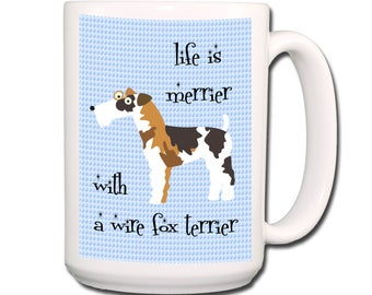 Life is Merrier With a Wire Fox Terrier Extra Large Coffee Mug 15 oz
