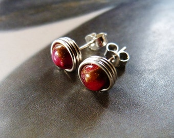 Ruby in quartz earstuds, silver post earrings, handmade natural jewelry, gift for her, birthday present, affordable gift, 30th birthday gift