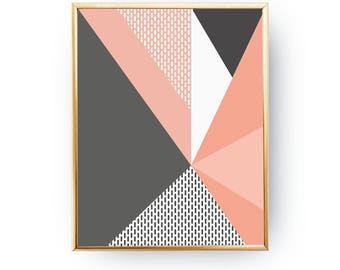 Pink Gray Artwork, Mid Century Decor, Geometric Triangles, Pastel Decor, Minimalist Poster, Textured Wall Art, Abstract Shapes, Simple Print
