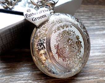 Father of The Groom Pocket Watch Silver Pocket Watch with Watch Chain Personalized Father of The Groom Gift Idea Ships to US/Canada SLEQ