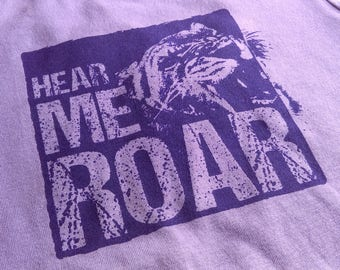 """GIRL'S FEMINIST FITTED """"Hear Me Roar"""" T-shirt Equal Rights Equality Political Purple Violet Short Sleeve Screen Printed Cotton Tee"""