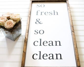 So Fresh & So Clean Clean Handpainted and Framed Wooden Modern Farmhouse Style Sign