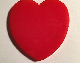 2 1/2 in Red Vintage Bakelite Heart Slice Polished
