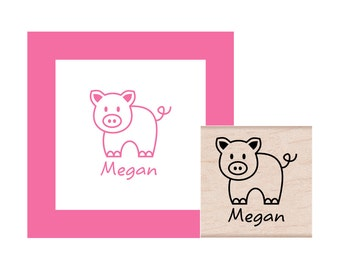 Pig with Personalization Rubber Stamp