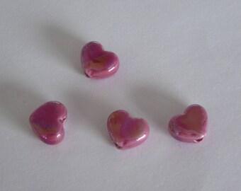 1 heart ceramic Greek 12 x 10 mm pink
