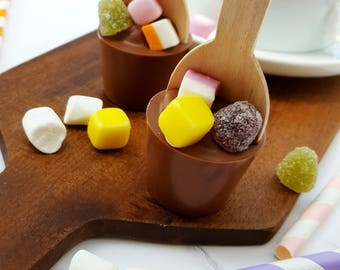 Hot chocolate spoon - kids party favour - childrens party - chocolate gift - dolly mixtures - food gift - gift for her - birthday gift