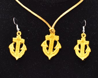 Anchor Pendant and Earrings
