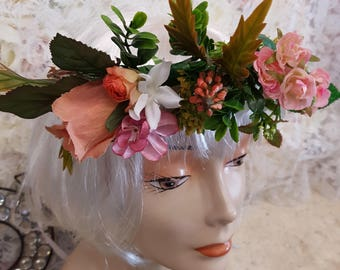 Exotic artificial rose flower crown