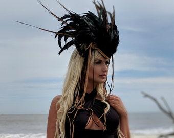 Headdress, Tribal Fusion Headdress, Headpiece, Feather Headdress, Horn Headdress, Burning Man Costume, Festival Headdress, Gothic Headdress