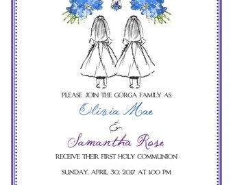 Printable 'Custom Sketch' Girl/Twin/Triplet First Communion Invitation