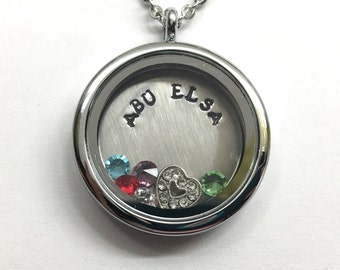 ABU ELSA - Abuela - Silver Edge or Custom Floating Charm Locket - Memory Locket - Custom Hand Stamped Gift for Abuelita