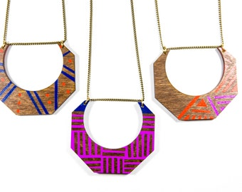 Fauna Necklace/ Large Lasercut Wood Shape/ Long Layering Necklace/ Colorful/ Faceted Shape/ Painted/ Fuchsia/ Ultramarine/ Orange