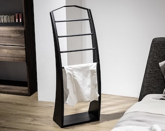 Clothes stand PLUTOO, wooden clothes valet, clothes hanger, bedroom clothes stand_black