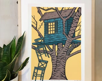 Tree House Print - Hand Pulled Screen Print
