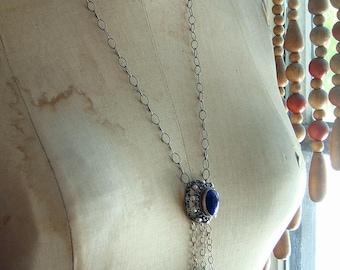 Assemblage Festival Style Necklace Vintage Ethnic Lapis  Lavaliere Tassel Fringe Pendant Silver and Blue Cannetille Filigree