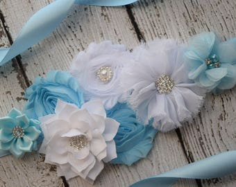 light blue white Sash , flower Belt, maternity sash, wedding sash, flower girl sash, maternity sash belt
