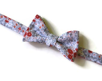 Coral and Gray Bow Tie~Mens Self Tie Bow Tie~Mens PreTied~Anniversary Gift~Blush~Floral Tie~Cotton Bow Tie~Wedding Bow Tie~Coral Wedding