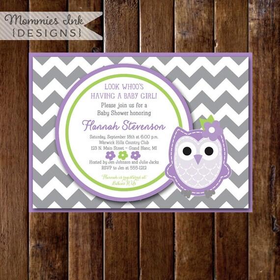 Owl Baby Shower Invitation Owl Baby Shower Invite Gray