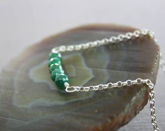 Emerald sterling silver necklace on chain, Beaded row necklace, Emerald necklace, Stone necklace, Bar necklace, Birthstone necklace, NK081