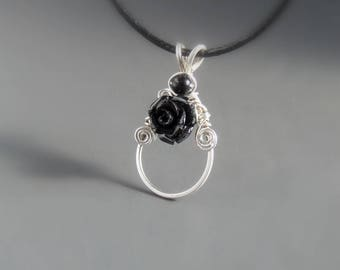 Black rose necklace, black healing stone OOAK jewelry, silver plated jewelry, handmade gift for women