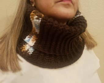 Comfortable Cowl, snug cowl, bulky crocheted warm winter scarf, turtleneck type. Perfect scarf to keep your chest warm.