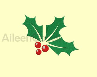 Christmas Holly Embroidery design 7 Size  INSTANT download machine embroidery