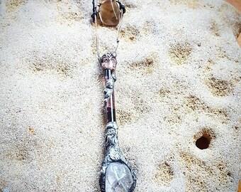 Sacred Pendant, Pendulum, Wand. Crystal Necklace, Clear Quartz, Smoky Quartz, Australian Handmade, Magical, Witchcraft, Wicca, Angelic, Love
