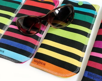 Padded Sunglasses Case - Rainbow Stripes  // Soft Pouch with Snap // Eyeglass Holder