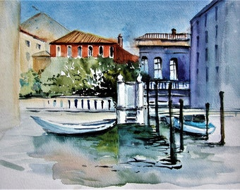 Small original aquarelle Venice canal art watercolor painting A4 size