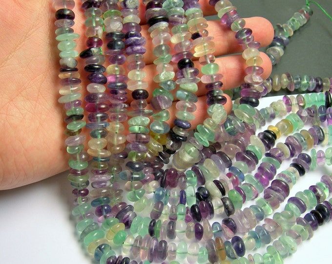 Fluorite - bead - disc - chip -  A quality  - 90 beads per strand - 11mm - PSC10
