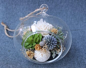 Artificial Succulent Terrarium Air Plant Arrangement, Faux Flowers, Sola Flowers, centerpiece, modern home decor, house warming, wedding