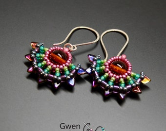 Solstice Beaded Earrings Rainbow Sterling Silver