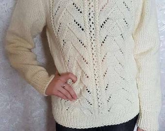 Hand Knitted Women's Sweater, Women's Knitted Sweater, Handmade Sweater, cream color,Wool,beautiful pattern,SHIPPING FREE