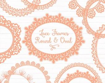 Peach Round Lace Frames Clipart & Vectors - Peach Lace Frames, Peach Vector Lace