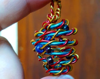 Rainbow crystal wire wrap cage pendant
