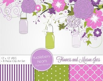 Purple Flowers and Mason Jars Scrapbook Paper, Clip Art, Backgrounds, Purple, Green, and Pink