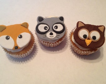 Woodland Animal Fondant Cupcake Toppers