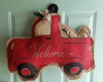 Truck w/ Antlers Burlap Door Hanger