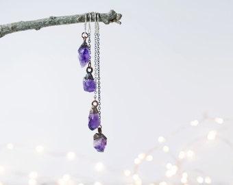 Raw crystal earrings | Amethyst crystal earrings | Amethyst silver earrings | Raw crystal earrings | Amethyst dangle earrings