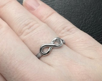 Stainless Steel Jewelry, Silver Infinity Ring Sizes 5 - 9, Girlfriend Gift, Women Empowerment, Love