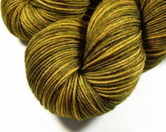 Hand Dyed Yarn, Sport Weight Superwash Merino Wool Yarn - Olive Oil Tonal - Tonal Knitting Yarn, Artisan Sock Yarn, Sport Yarn, Indie Dyed
